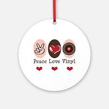 Peace Love Vinyl Record Ornament (Round)
