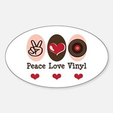 Peace Love Vinyl Record Oval Decal