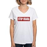 Stop Obama Women's V-Neck T-Shirt