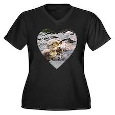Sea Otters Women's Plus Size V-Neck Dark T-Shirt