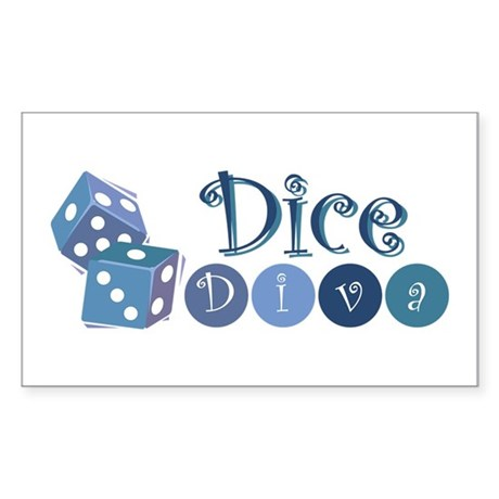 Dice Diva Rectangle Sticker