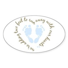 Adding Two Feet (blue) Oval Decal