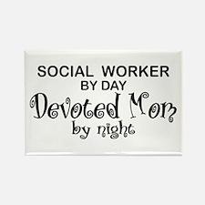 Social Worker Devoted Mom Rectangle Magnet