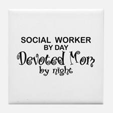 Social Worker Devoted Mom Tile Coaster