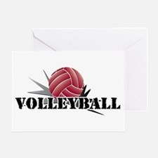 Volleyball starburst red Greeting Card