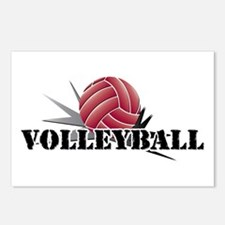 Volleyball starburst red Postcards (Package of 8)