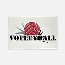 Volleyball starburst red Rectangle Magnet