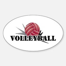 Volleyball starburst red Oval Decal