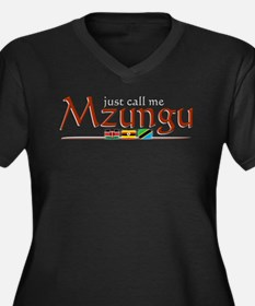 Just Call Me Mzungu - Women's Plus Size V-Neck Dar