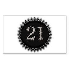 21st Birthday Party Gear Rectangle Decal
