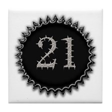 21st Birthday Party Gear Tile Coaster