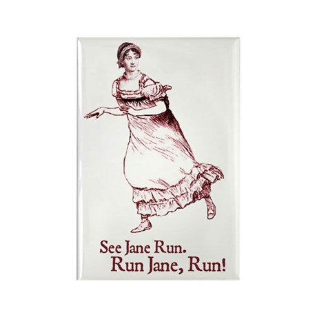 Jane Austen Run Jane Rectangle Magnet