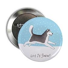 "Siberian Husky Let it Snow 2.25"" Button (100 pack)"