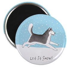 Siberian Husky Let it Snow Magnet