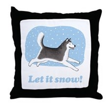 Siberian Husky Let it Snow Throw Pillow