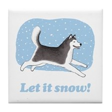 Siberian Husky Let it Snow Tile Coaster