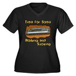 Blowing and Sucking Women's Plus Size V-Neck Dark