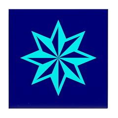 Cyan Guiding Star Tile Coaster