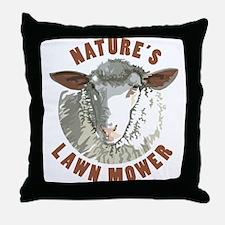 Sheep Lawn Mower Throw Pillow