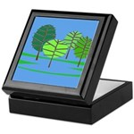 Groovy Blue Trees Keepsake Box