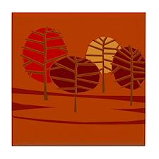 Groovy Brown Trees Tile Coaster