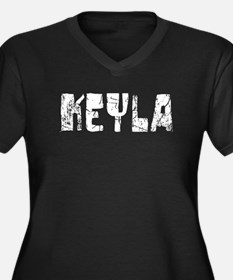 Keyla Faded (Silver) Women's Plus Size V-Neck Dark