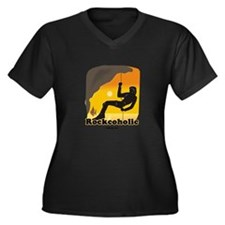 Rockcoholic Women's Plus Size V-Neck Dark T-Shirt