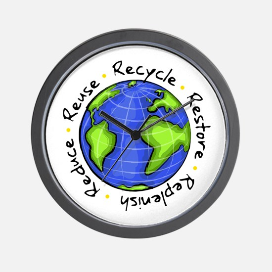 Recycle - Reduce - Reuse - Replenish Wall Clock