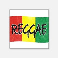 Reggae flag burlap crush-faded Sticker