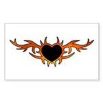 Flame Heart Tattoo Sticker (Rectangle 10 pk)