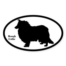 Rough Collie Silhouette Sticker (Euro Style)