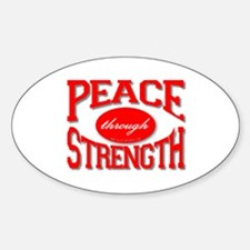 Peace Through Strength Oval Decal