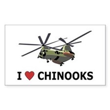 I Love Chinooks Rectangle Decal