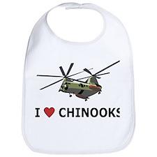 I Love Chinooks Bib