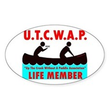 Up the creek, no paddle! Oval Decal