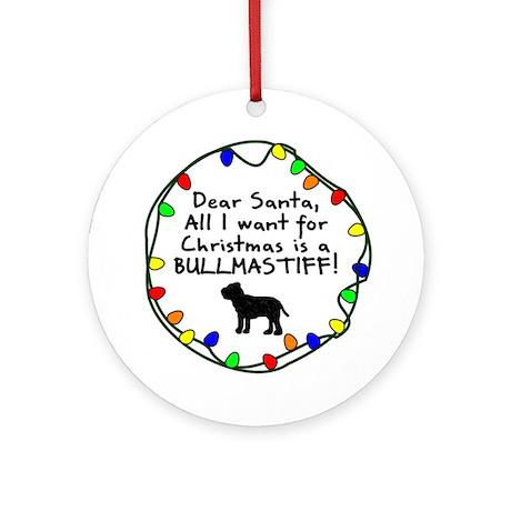 Dear Santa Bullmastiff Christmas Ornament