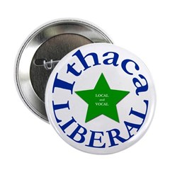 Ithaca Liberal Local and Vocal Button