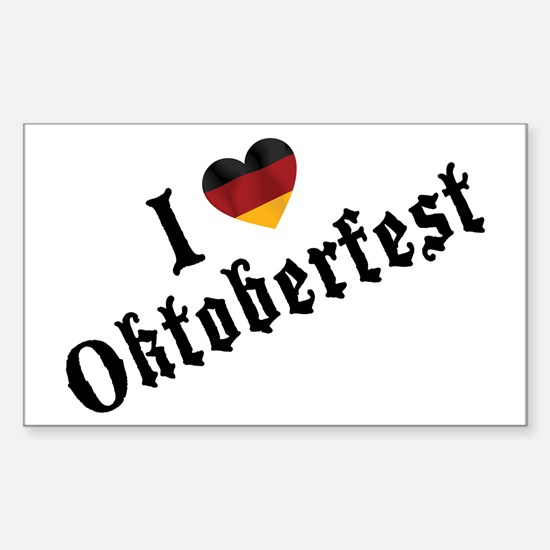 I Love Oktoberfest Rectangle Decal