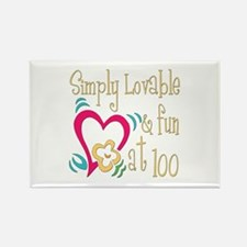 Lovable 100th Rectangle Magnet