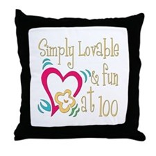 Lovable 100th Throw Pillow