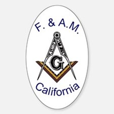 California Square and Compass Oval Decal