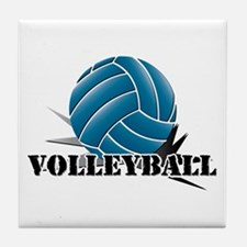 Volleyball starbust blue Tile Coaster