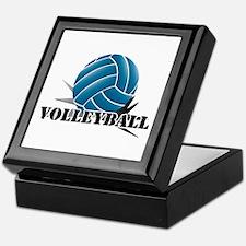 Volleyball starbust blue Keepsake Box