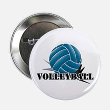 "Volleyball starbust blue 2.25"" Button"