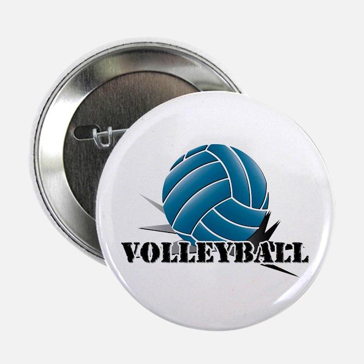 "Volleyball starbust blue 2.25"" Button"