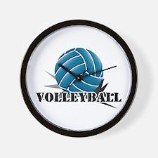 Volleyball starbust blue Wall Clock