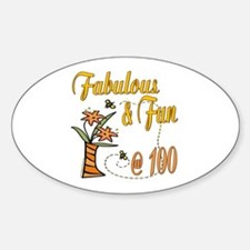 Floral 100th Oval Decal