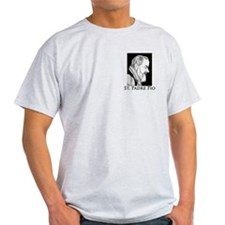 "St. Padre Pio T-Shirt (grey) - ""Pray, Hope"""