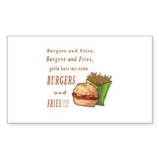 Burgers and Fries Rectangle Sticker 10 pk)