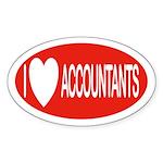 I Love Accountants Oval Sticker